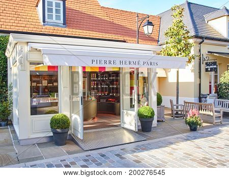 PARIS FRANCE - MAY 10 2017 : Pierre Herme Paris boutique in La Vallee Village.