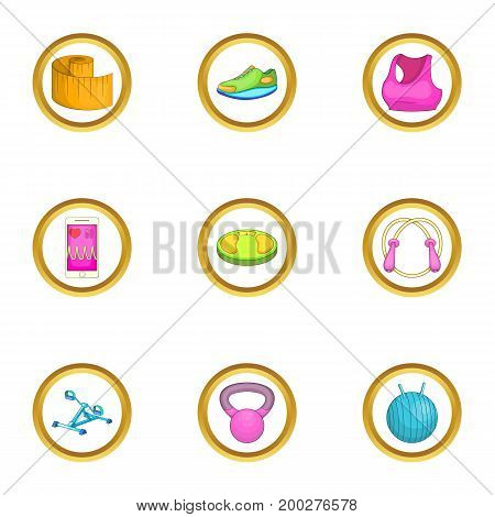 Gym icons set. Cartoon illustration of 9 gym vector icons for web design