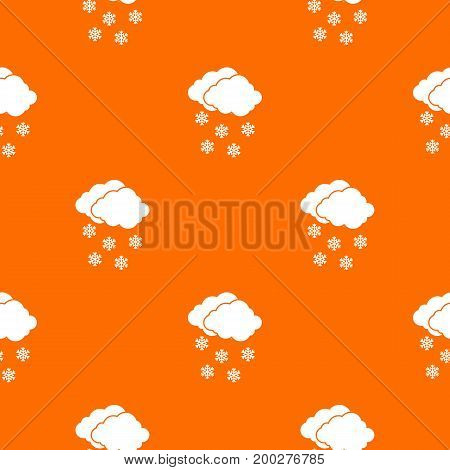 Cloud and snowflakes pattern repeat seamless in orange color for any design. Vector geometric illustration