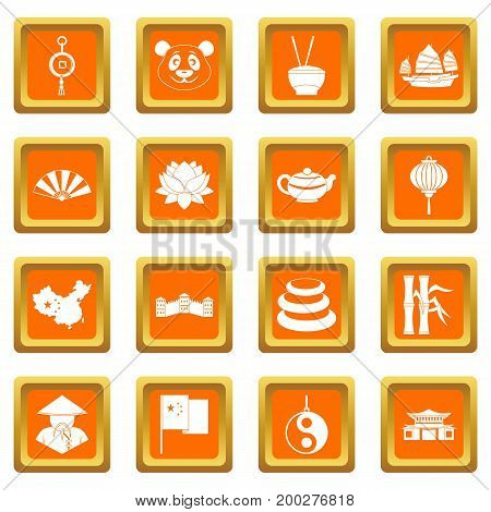 China travel symbols icons set in orange color isolated vector illustration for web and any design