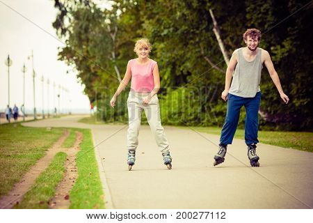 Young People Casually Rollblading Together.