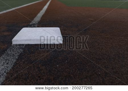 View of first base down the line in a turf field