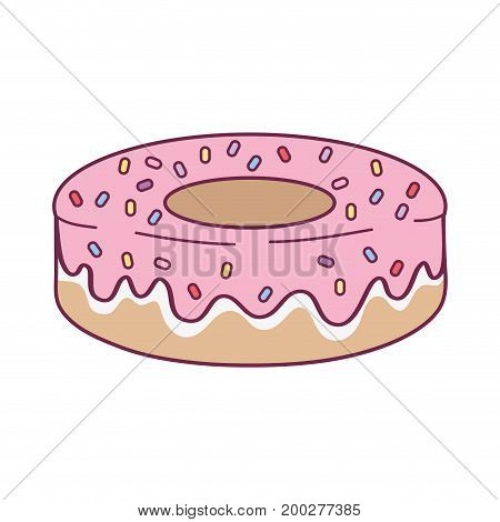 delicious fresh donut dessert pastry vector illustration