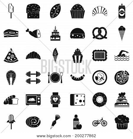 Sweet calories icons set. Simple style of 36 sweet calories vector icons for web isolated on white background