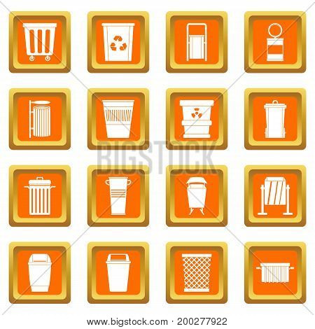 Garbage container icons set in orange color isolated vector illustration for web and any design