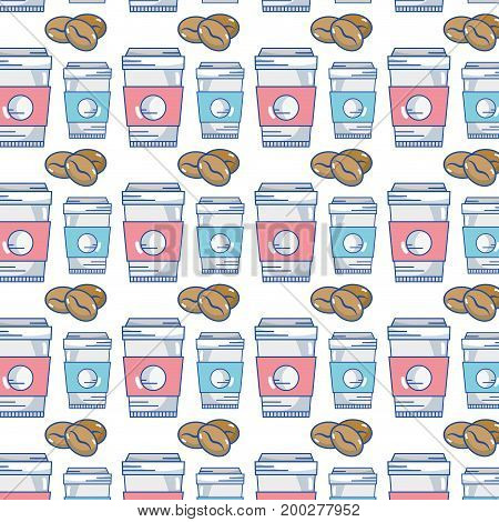 delicious coffee grans with plastic cup background vector illustration