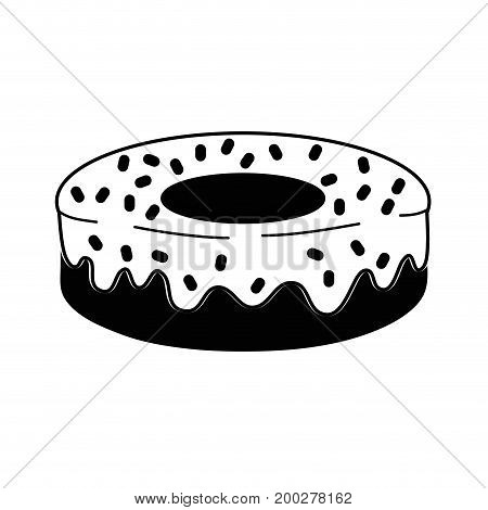 contour delicious fresh donut dessert pastry vector illustration