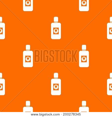 Bottle of green mouthwash pattern repeat seamless in orange color for any design. Vector geometric illustration