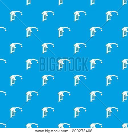 Gasoline pump nozzle pattern repeat seamless in blue color for any design. Vector geometric illustration