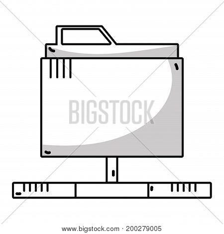line technology data file folder server vector illustration
