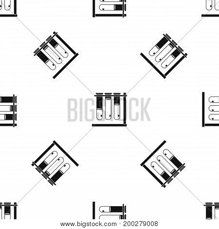 Three beakers pattern repeat seamless in black color for any design. Vector geometric illustration