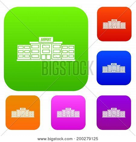Airport building set icon in different colors isolated vector illustration. Premium collection