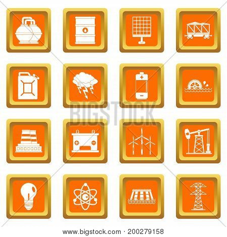 Energy sources icons set in orange color isolated vector illustration for web and any design