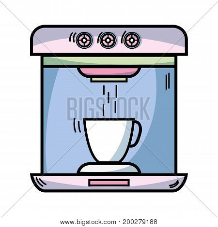 technology coffee maker electric kitchen utensil vector illustration
