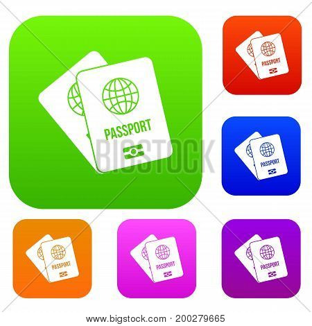Passports with map set icon in different colors isolated vector illustration. Premium collection