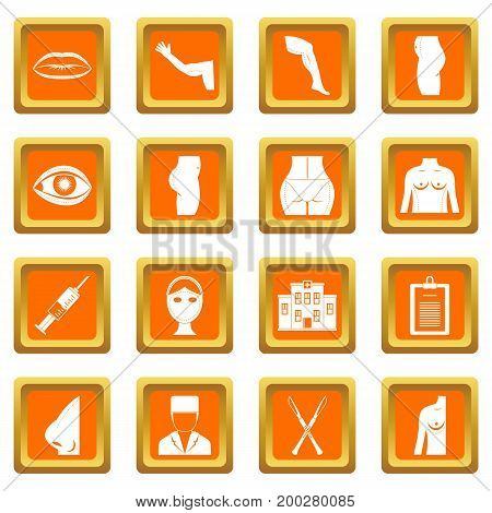 Plastic surgeon icons set in orange color isolated vector illustration for web and any design