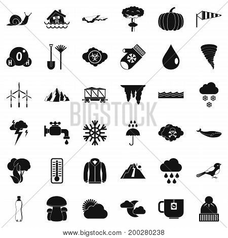 Snowy cloud icons set. Simple style of 36 snowy cloud vector icons for web isolated on white background