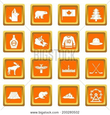 Canada travel icons set in orange color isolated vector illustration for web and any design