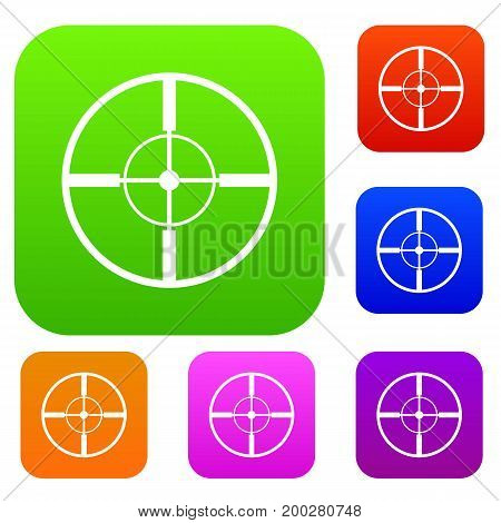 Aim set icon in different colors isolated vector illustration. Premium collection