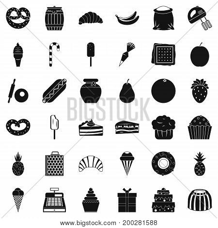 Sweet shop icons set. Simple style of 36 sweet shop vector icons for web isolated on white background