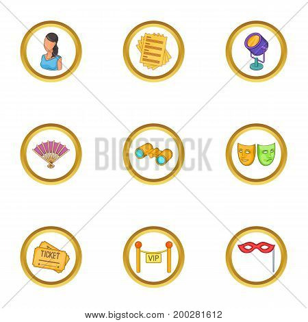 Theater icons set. Cartoon illustration of 9 theater vector icons for web design