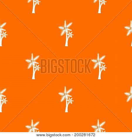 High palm tree pattern repeat seamless in orange color for any design. Vector geometric illustration