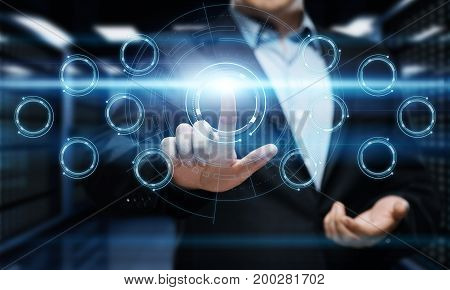 Businessman pressing button on virtual screen. Man pointing on futuristic interface. Innovation technology internet and business concept.