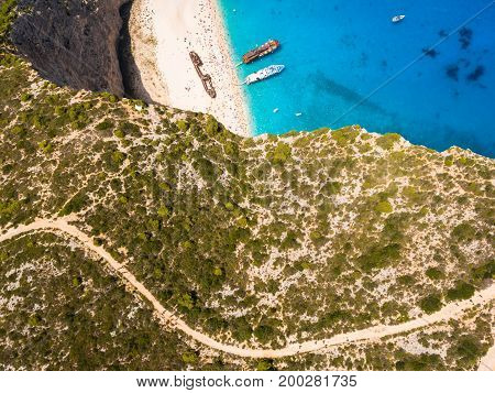 Aerial  View Of Navagio Beach Shipwreck View In Zakynthos (zante) Island, In Greece