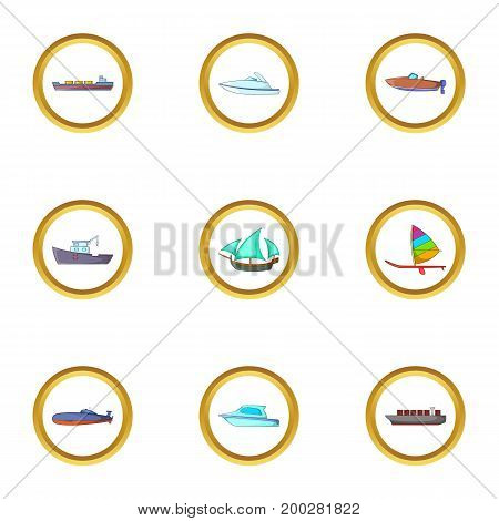 Marine icons set. Cartoon illustration of 9 marine vector icons for web design