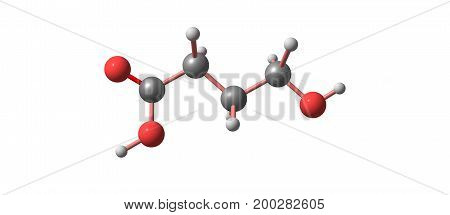 Hydroxybutyric Acid Molecular Structure Isolated On White