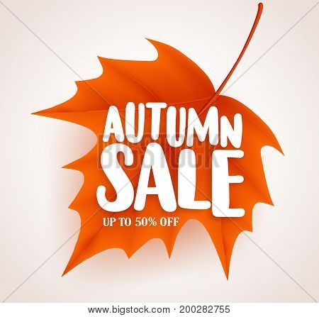 Orange autumn leaf with sale text in white background vector banner design for fall seasonal marketing promotion. Vector illustration.