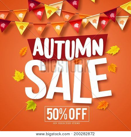Autumn sale vector banner design with fall season maple leaves and colorful hanging streamers  background for store marketing promotions. Vector illustration.