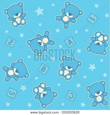 cute teddy bear seamless background with stars and alphabetical cubes, design for baby boy and children