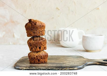 Chocolate Muffins On A Light Background