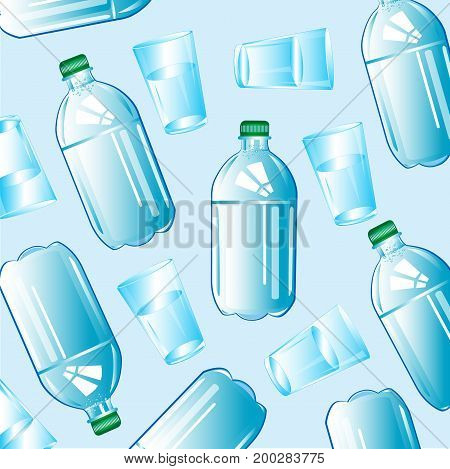 Clean drinking water in plastic bottle and glass