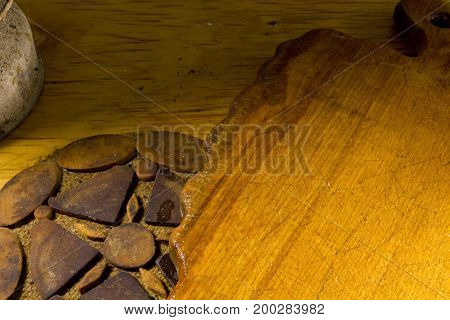 Kitchen diverse old scratched wooden surface in grunge style