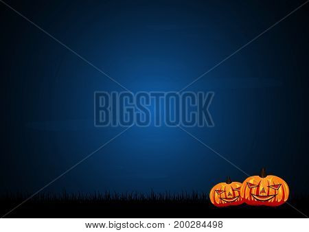 Halloween festival and celebration abstract background pumpkin on graveyard grass and sky vector illustration.