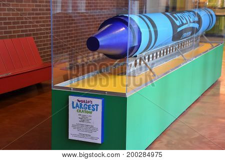 EASTON, PA - JUN 10: Crayola Experience in Easton, Pennsylvania, as seen on Jun 10, 2017. It is a crayon-centric warehouse with colorful kid-friendly activities.