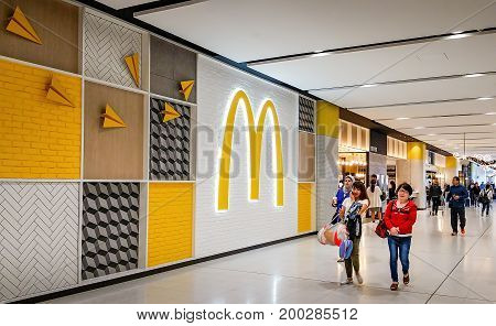 Sydney, Australia - Oct 29, 2016: Outside McDonald's fast food restaurant, on the way to boarding lounge at Kingsford-Smith International Airport.