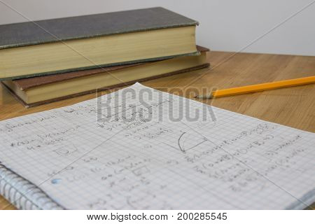 Math notebook on counter next to pencil and books