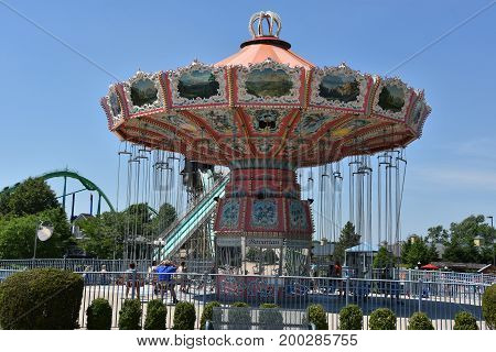 ALLENTOWN, PA - JUN 11: Dorney Park in Allentown, Pennsylvania, as seen on Jun 11, 2017. It features some of the world's most prominent roller coasters.