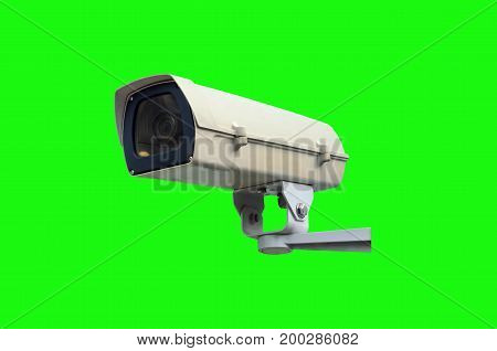 CCTV security camera system isolated on green background for photo montage security technology concept