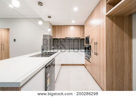 Modern Australian home kitchen. Minimal Scandinavian interior design.