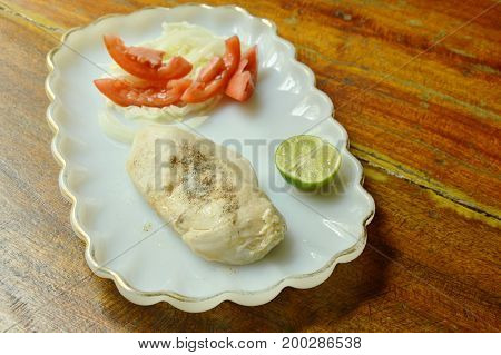 boiled chicken dressing pepper with fresh salad low fat protein for build muscle food on plate