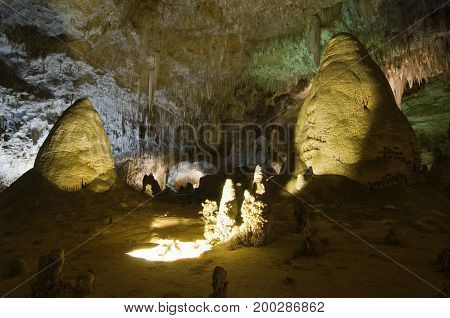 Cave formations in the Carlsbad Caverns, New Mexico