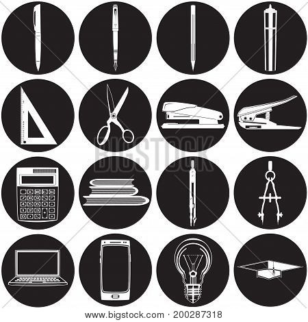 Vector set of white school and office supplies icons. Stationery, laptop, mobile phone and light bulb flat style design templates.