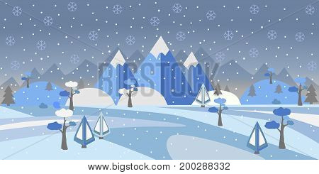 Winter Snowy Landscape with hills, trees and mountains. Suburban Buildings in Winter Landscape. Flat Vector Illustration. Modern Rural Area