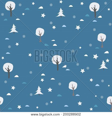 Seamless Winter and Merry Christmas Pattern. Blue Background. Minimalism Concept