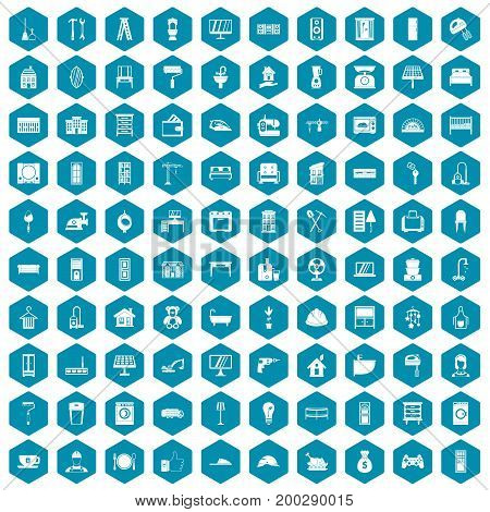 100 comfortable house icons set in sapphirine hexagon isolated vector illustration
