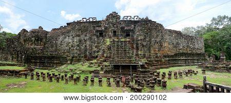 Sleeping buddha. Ruin of the Great Reclining Buddha Baphuon Temple Angkor wat Siem Reap Cambodia.